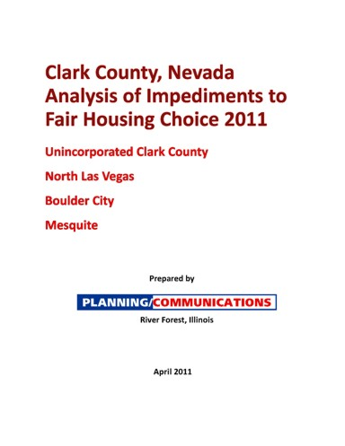 Clark County NV AI 2011 Cover